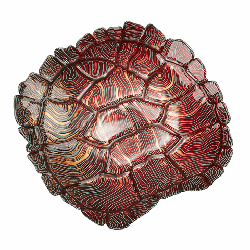 Giant Turtle Shell Bowl Turquoise Red