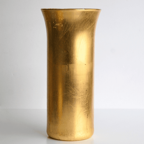"GILT 9"" Gold Gilded Hurricane Vase"