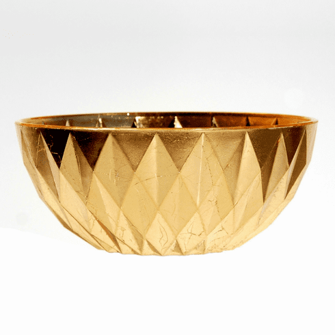 "GILT DIAMOND 9"" Gold Gilded Bowl"