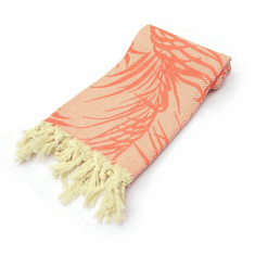 JUNGLE 100% Jacquard Turkish Cotton Pestemal Bath & Beach Towel Orange