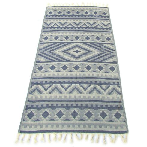 KILIM 100% Jacquard Turkish Cotton Pestemal Towel Indigo Blue