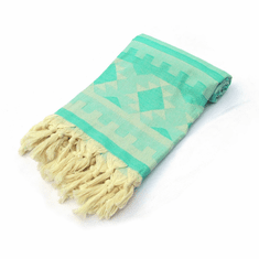 KILIM 100% Jacquard Turkish Cotton Pestemal Towel Sea Green