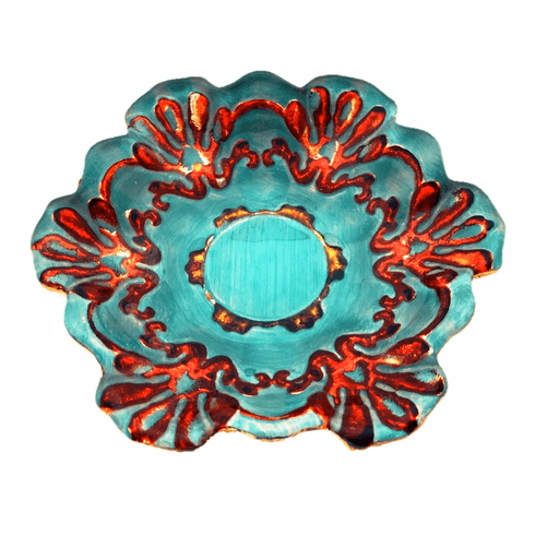 """Lace 6.5"""" Canapé Plates Turquoise/Coral Set of 4"""
