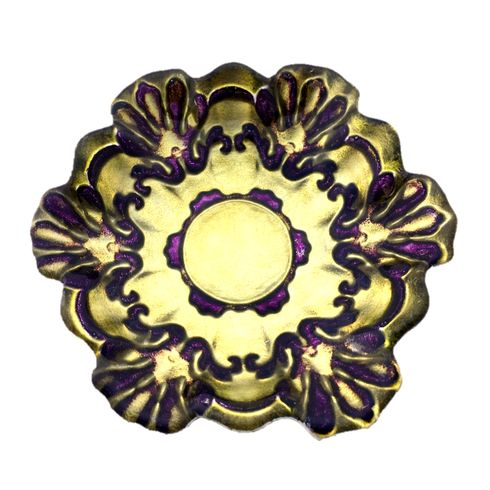 "Lace 6.5"" Canapé Plates Green/Purple Set of 4"