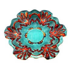 "Lace 6.5"" Canapé Plates Turquoise/Coral Set of 4"