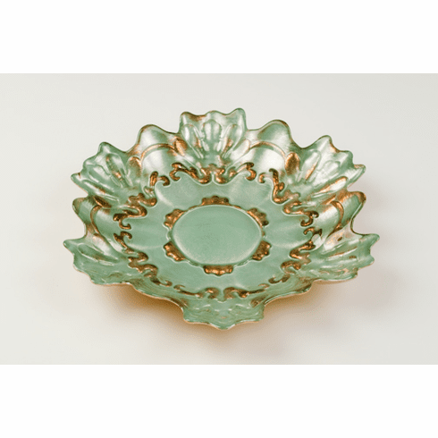 """Lace 8.5"""" Salad Dessert Plate Turquoise Gold"""