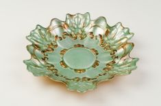 "Lace 8.5"" Salad Dessert Plate Turquoise Gold"