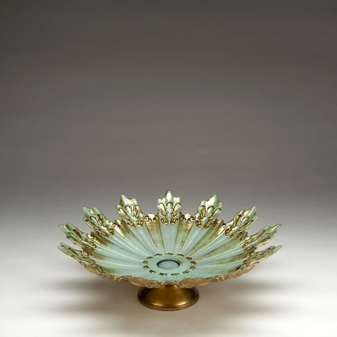 Lace Turquise Gold footed fruit bowl