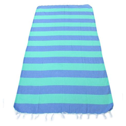 LOLLIPOP 100% Turkish Cotton Pestemal Bath & Beach Towel Blue/Green