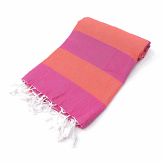 LOLLIPOP 100% Turkish Cotton Pestemal Bath & Beach Towel Orange/Pink