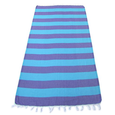LOLLIPOP 100% Turkish Cotton Pestemal Bath & Beach Towel Purple/Blue