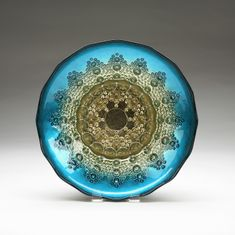 Moroccan Bowl Aqua Blue and Gold 12""
