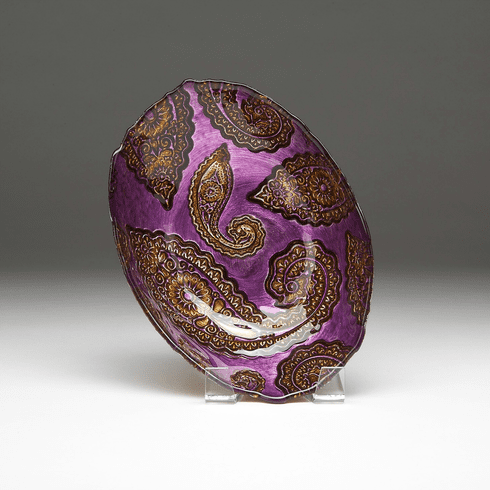 """Paisley Oval Bowl 12"""" Purple and Gold"""