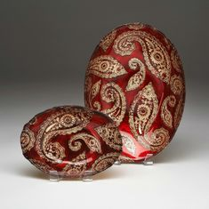 "Paisley oval bowl 12"" Red Gold"
