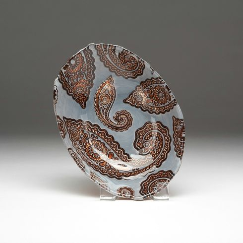 """Paisley Oval bowl 12"""" Slate and Copper"""