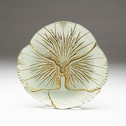"Pansy Turquoise Gold Canape plate 6.5""  SEE OTHER SIZES"