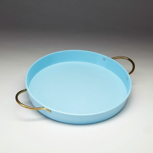 "Vento 15"" Porcelain Coated Steel Blue Tray"