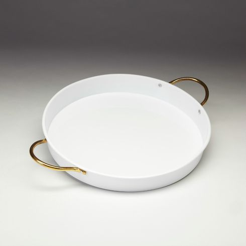 "Vento 15"" Porcelain Coated Steel White Tray"