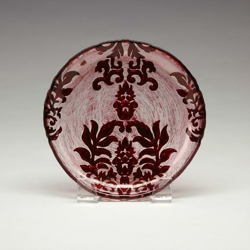 Red Clear Damask Canape plate