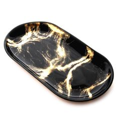 "THASSOS 12"" Black Marble Oval Tray"