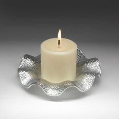 "Silver Ruffle Plate with 3"" Round Pillar Candle"