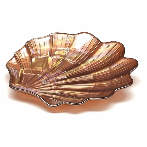 """Scallop Shell 5.12"""" Copper Luster Plate Set of 2"""
