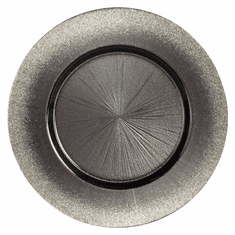 "Set/4 RITZ 13"" Round Grey/Silver Charger Plates"