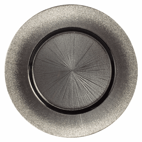 """Set/4 RITZ 13"""" Round Grey/Silver Charger Plates"""