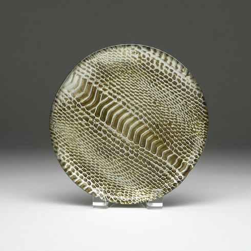 "Snakeskin Canape plate black silver and gold 6.5"" SEE OTHER SIZE"