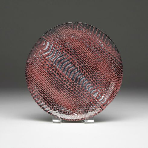 "Snakeskin salad plate 8.5"" Cognac and silver"