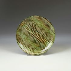 """Snakeskin Salad plate turquoise gold 8.5"""""""