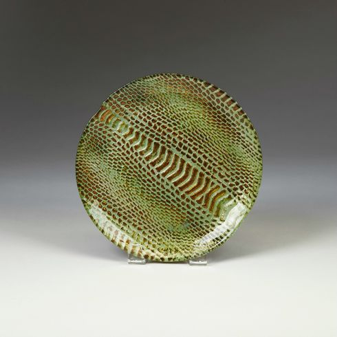 Snakeskin Salad plate turquoise gold 8.5""