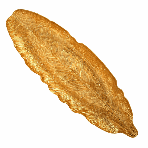 """SWAN 16"""" Antique Gold Tray"""