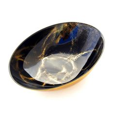 "THASSOS 9"" Black Marble Oval Bowl"