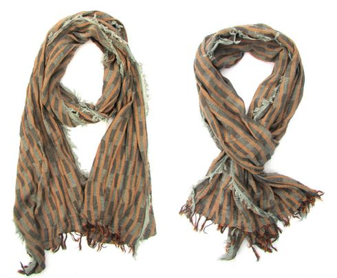 Ultra soft all season Brown Grey scarf with fringe details