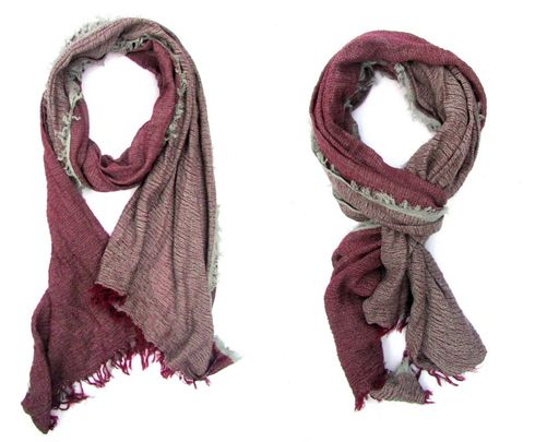 Ultra soft all season Burgundy Grey scarf with fringe details