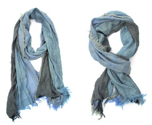 Ultra soft Blue Degraded Scarf with fringe details