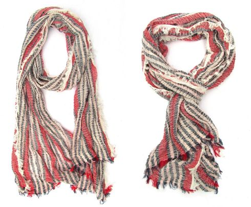 Ultra soft Navy Blue Red White scarf with fringe details