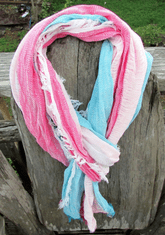 Ultra soft Pink White Baby Blue scarf with fringe details