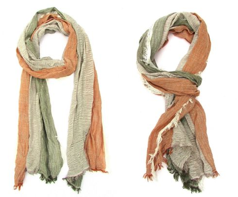Ultra soft Tobacco Green White scarf with fringe details