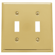 Baldwin 4761030 Bright Brass Double Toggle Beveled Switch Plate