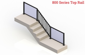 Black eGlass Picket™ System - Stair Transition
