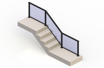 Black eGlass Solid™ System - Stair Transition