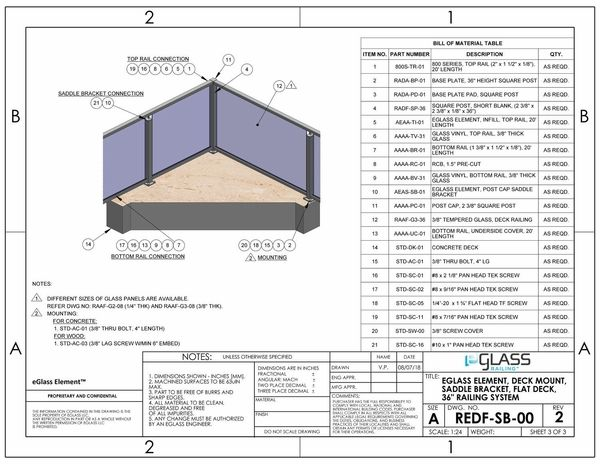 eGlass Element™ System Drawings - Deck Mount