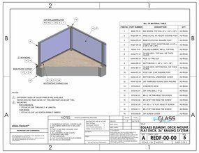 eGlass Element&trade; System Drawings <br> Deck Mount