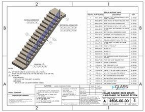 eGlass Element&trade; System Drawings <br> Deck Mount for Stairs