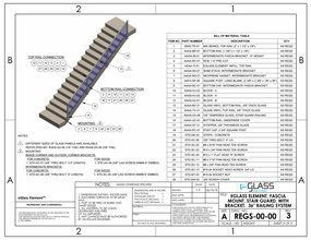 eGlass Element&trade; System Drawings <br> Fascia Mount for Stairs