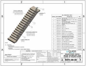 eGlass Picket&trade; 800 Series Drawings <br> Fascia Mount w/o Brackets