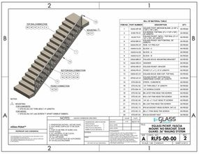 eGlass Picket&trade; 810 Series Drawings <br> Fascia Mount w/o Brackets