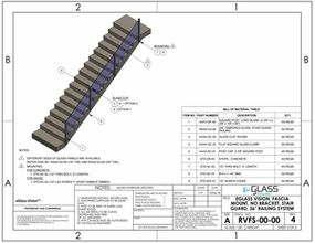 eGlass Vision&trade; System Drawings <br> Fascia Mount w/o Brackets for Stairs
